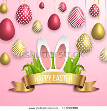 happy easter template gold ribbon eggs stock vector 583292953