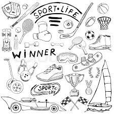 sport sketch doodles elements hand drawn baseball
