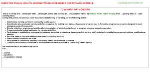 director public health nursing work experience certificate