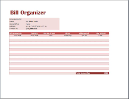 ms excel comprehensive bill organizer template word u0026 excel