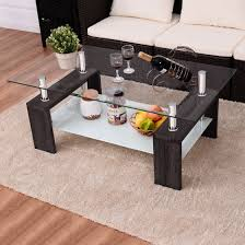Pictures Of Coffee Tables In Living Rooms Costway Black Rectangular Tempered Glass Coffee Table W Shelf Wood