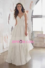 2017 a line wedding dresses straps 30d chiffon with applique sweep