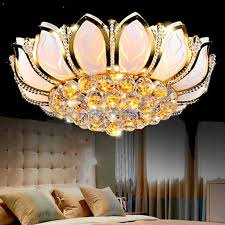 Living Room Ceiling Lamp Shades Flower Modern Ceiling Lights With Glass Lampshade Gold Ceiling