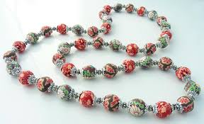 vintage beads necklace images Antique rose 12mm vintage polymer clay necklace snazzy beads jpg