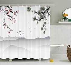 Red White Shower Curtain Chinese Shower Curtains Amazon Com