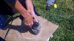 How To Cut Patio Pavers Without A Saw How To Cut A Perfect Circle In A Tile Youtube