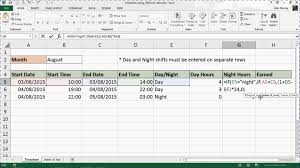 excel timesheet with different rates for shift work youtube