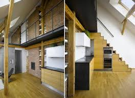 Apartment Stairs Design Compact Mini Loft Apartment In Prague Has An Oven In The Stairs
