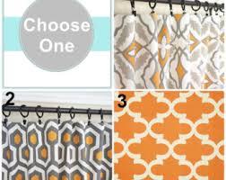 Geometric Orange Curtains Orange Window Curtains Grey Curtain Panels Orange Kitchen