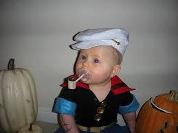 homemade baby popeye costume with pacifier pipe clever halloween