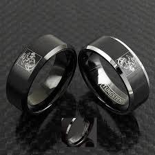 marine wedding rings black tungsten ring w laser engraved us marine corps logo