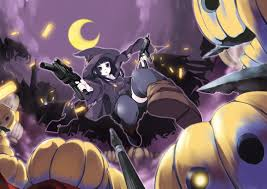 anime halloween wallpaper witch halloween moon weapons thigh highs anime girls pumpkins