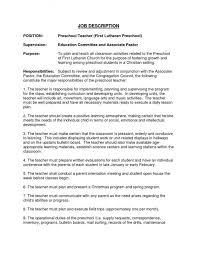 resumes for exles resume exles for preschool description recentresumes