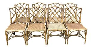 Chinese Chippendale Chair by Chinese Chippendale Rattan Dining Chairs Set Of 8 Chairish