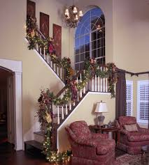 Pre Decorated Christmas Garland Pre Lit Christmas Garland Staircase Traditional With Christmas