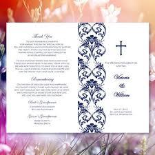 Church Wedding Programs Catholic Church Wedding Program Damask Navy Blue Wedding
