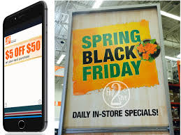 black friday sale for home depot home depot 5 off 50 in store purchase coupon sign up for text
