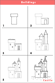 castle draw drawing pencil sketch quick step by step cartoon fun