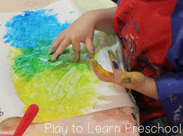 color theory finger paint preschool art activity mixing