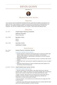 Physical Education Teacher Resume Sample by Student Teacher Resume Samples Visualcv Resume Samples Database