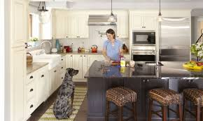 kitchen triangle with island kitchen islands decoration has the work zone concept replaced the kitchen triangle woman cooking at center island smiles at large dog sitting nearby in kitchen with linen raised