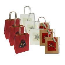 assorted applique gift bags w handle kraft paper