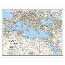 mediterranean map countries of the mediterranean classic wall map national