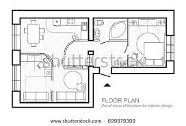 architectural plan house layout apartment top stock vector