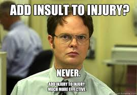 Injury Meme - add insult to injury never add injury to injury much more