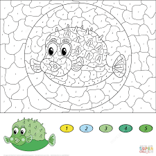 cartoon pufferfish color by number free printable coloring pages