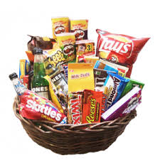 junk food basket sympathy and funeral flowers for the home enchanted florist taos