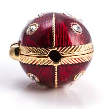 ladybug faberge style egg locket w heart pendant golden