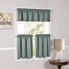 World Market Smocked Curtains by Facets Blackout Insulated Kitchen Curtain Teir 57 X 12 Green