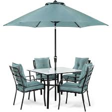 Patio Furniture Set With Umbrella - hanover lavallette black steel 5 piece outdoor dining set with