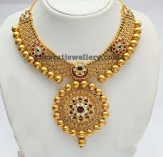 gold balls elaborated necklace jewellery designs