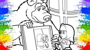 masha bear colouring pages funny cartoons kids