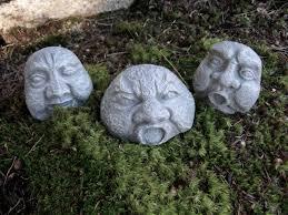 Cement Garden Decor Rock Faces Three Concrete Garden Rocks Garden Decor Pot