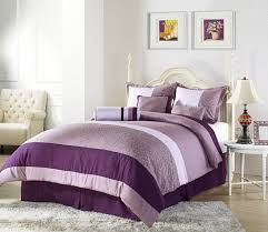 master bedroom design purple color interior with wall decoration