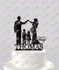 wedding cake topper family silhouette bride groom and