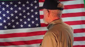 The American Flag Usa Senior Citizen Saluting The American Flag Vietnam War Veteran