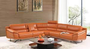 Orange Leather Chair 531 533 Sectional Sofa In Orange Leather By Esf W Options