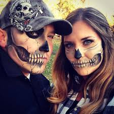 couples half skull halloween makeup makeup pinterest half