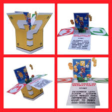 mario invitations super mario pop up box invitations nintendo super mario party