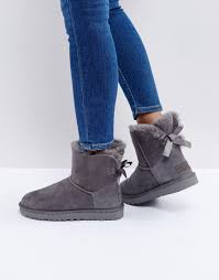 ugg mini bailey bow on sale ugg mini bailey bow ii gray boots gray products