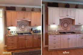 Repainted Kitchen Cabinets Ash Wood Cordovan Windham Door Before And After Painted Kitchen