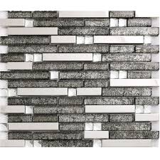 Grey Glass Interlocking Mosaic Tile Silver  Stainless Steel - Glass and metal tile backsplash