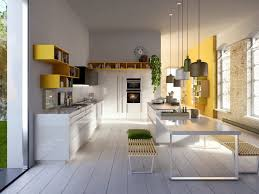 kitchen white gloss kitchen counter wooden benches floor to