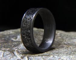 meteorite mens wedding band mens meteorite ring etsy