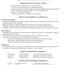Resume Objective For Warehouse Worker Marvellous Design Mover Resume 10 Resume Sample Warehouse Worker