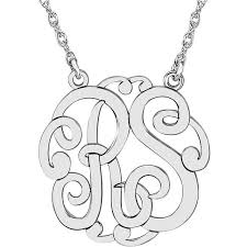 monogram necklace silver 25 mm 2 letter script monogram necklace
